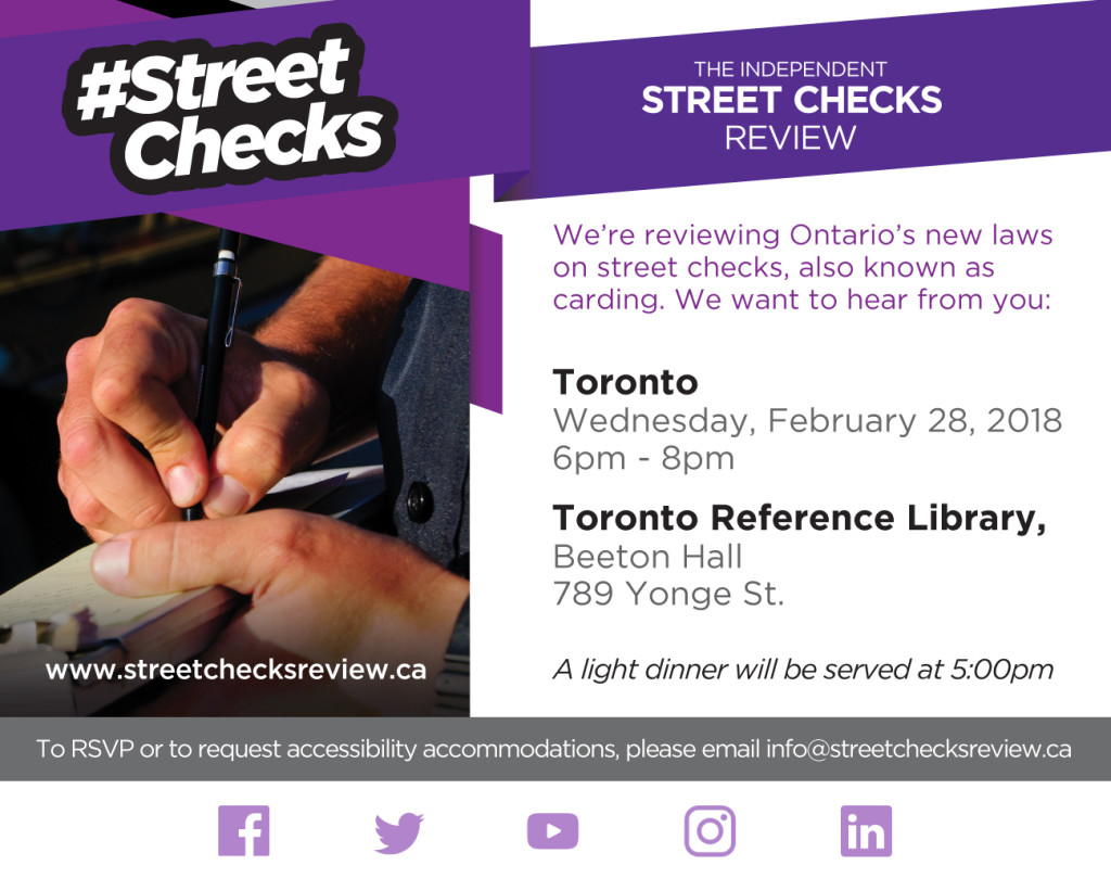 Street Checks Review Public Meeting - Toronto (central), February 28, 2018