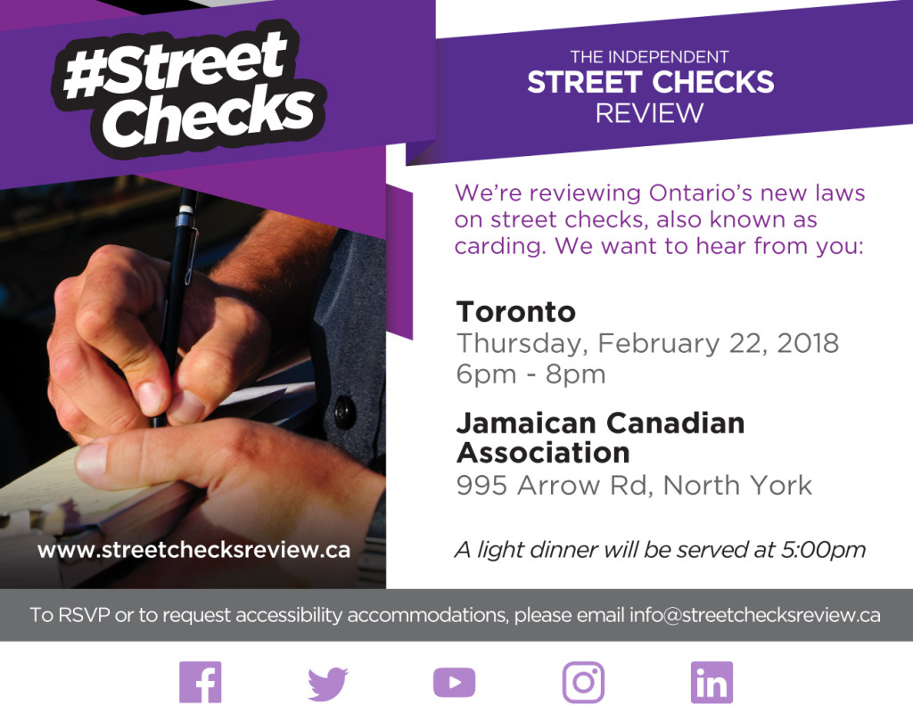 Street Checks Review Public Meeting - Toronto (west), February 22, 2018