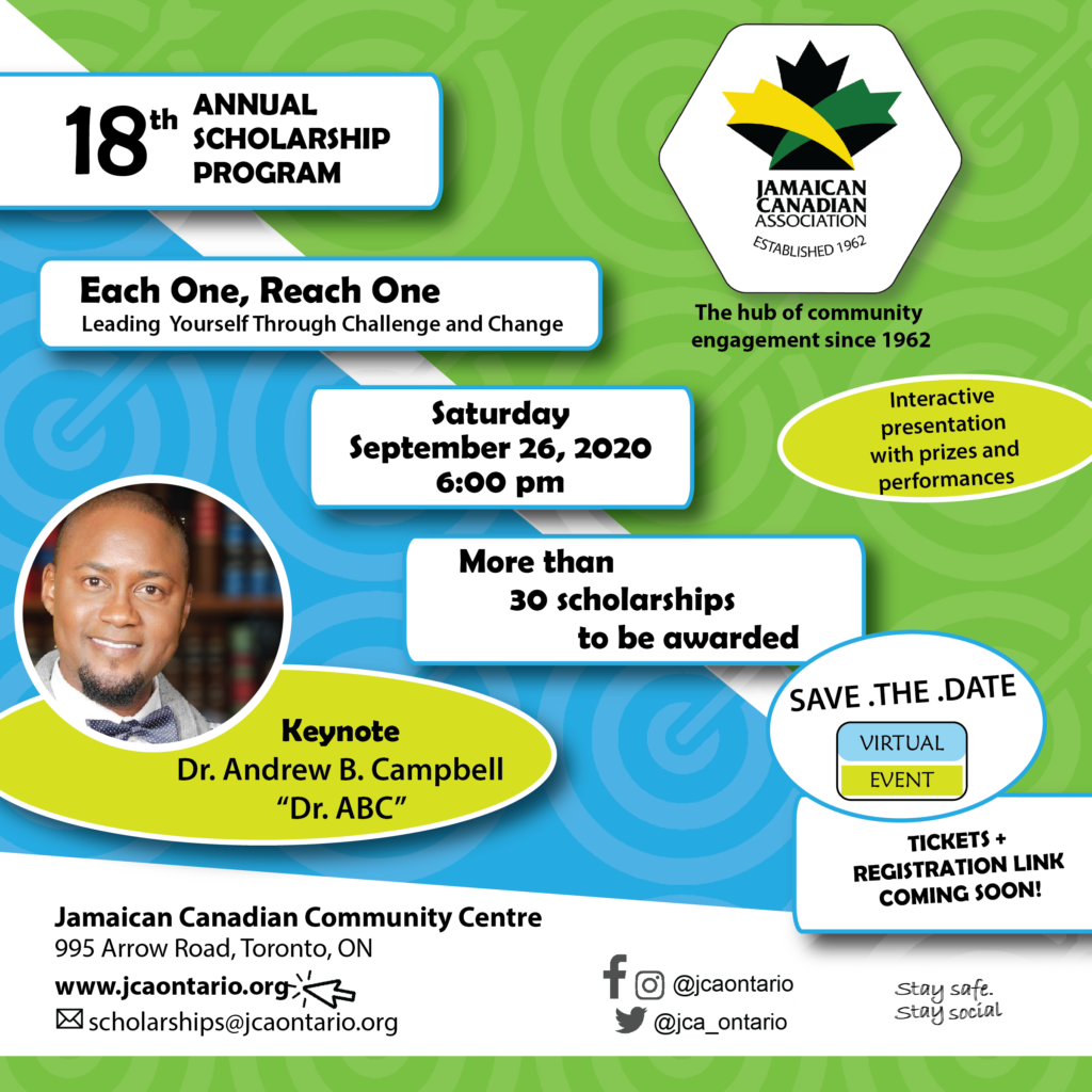 Jamaican Canadian Association Jca Annual Scholarship Awards Program